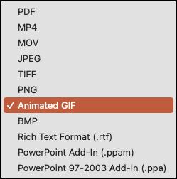 Haga clic en Formato de archivo y elija GIF animado