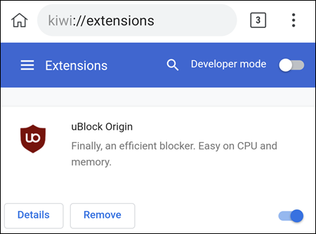 uBlock en el navegador Kiwi.