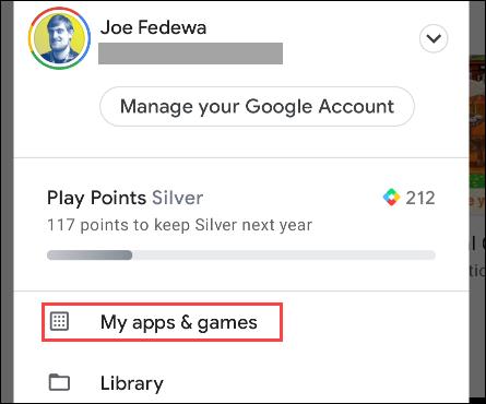 """Seleccione """"Mis aplicaciones y juegos"""" del menú"""