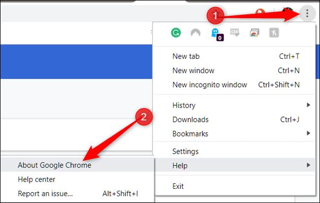 Haga clic en Más, señale Ayuda, luego haga clic en Acerca de Google Chrome