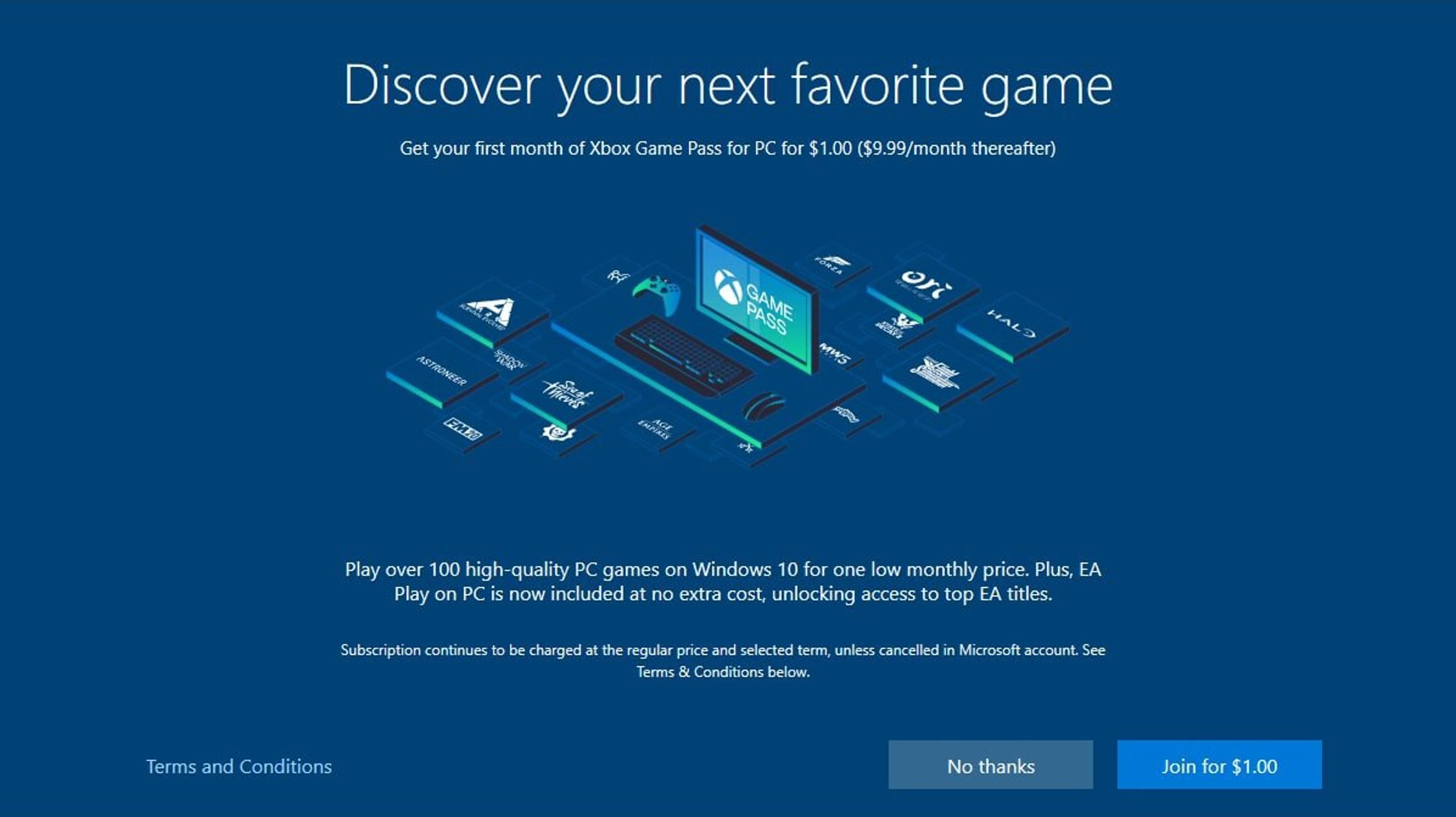 El proceso de configuración de Windows 10 obtiene anuncios para Xbox Game Pass