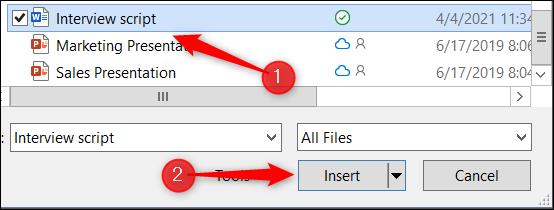 Seleccionar e insertar un documento de Word