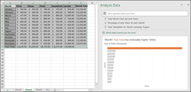 Analizar el panel de tareas de datos en Excel