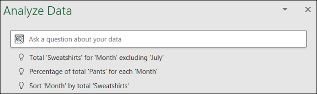 Haga una pregunta sobre sus datos