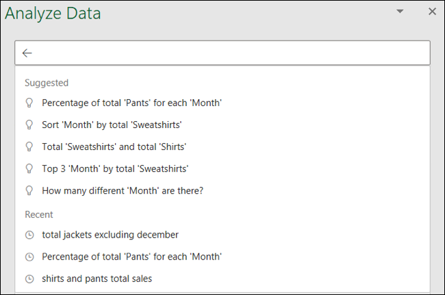 Analizar datos sugeridos y preguntas recientes