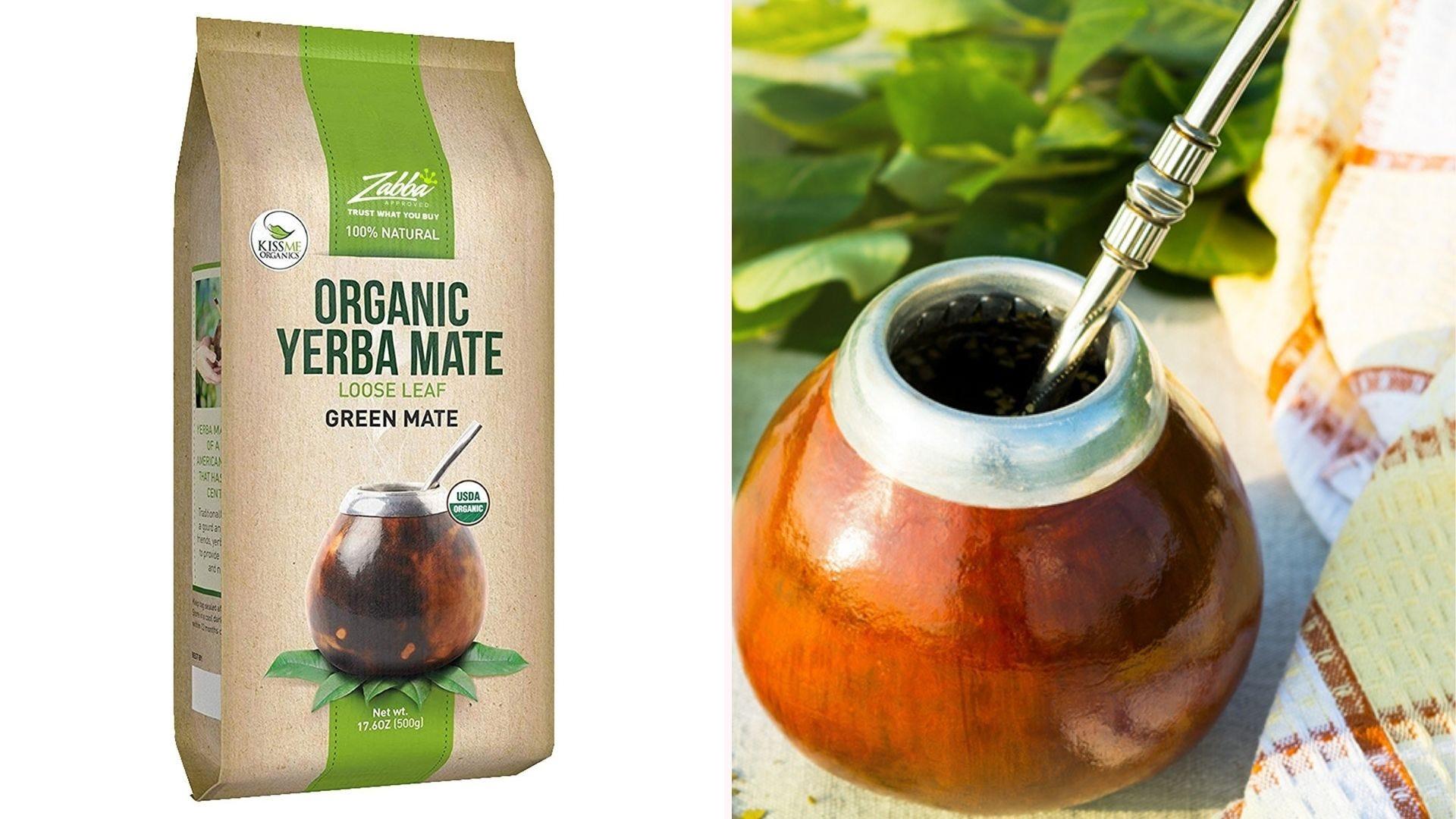 Un paquete de yerba mate orgánica con un recipiente para beber tradicional.