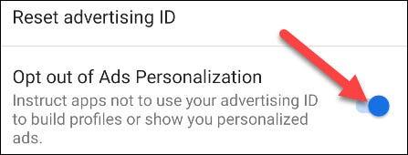 """Ahora encienda el interruptor por """"Desactivar la personalización de anuncios."""""""