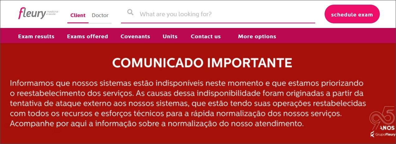 Anuncio en la web sobre el ciberataque