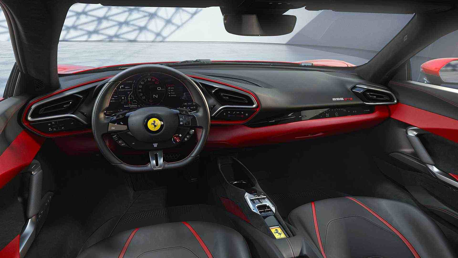 Un vistazo al interior del Ferrari 296 GTB.  Imagen: Ferrari