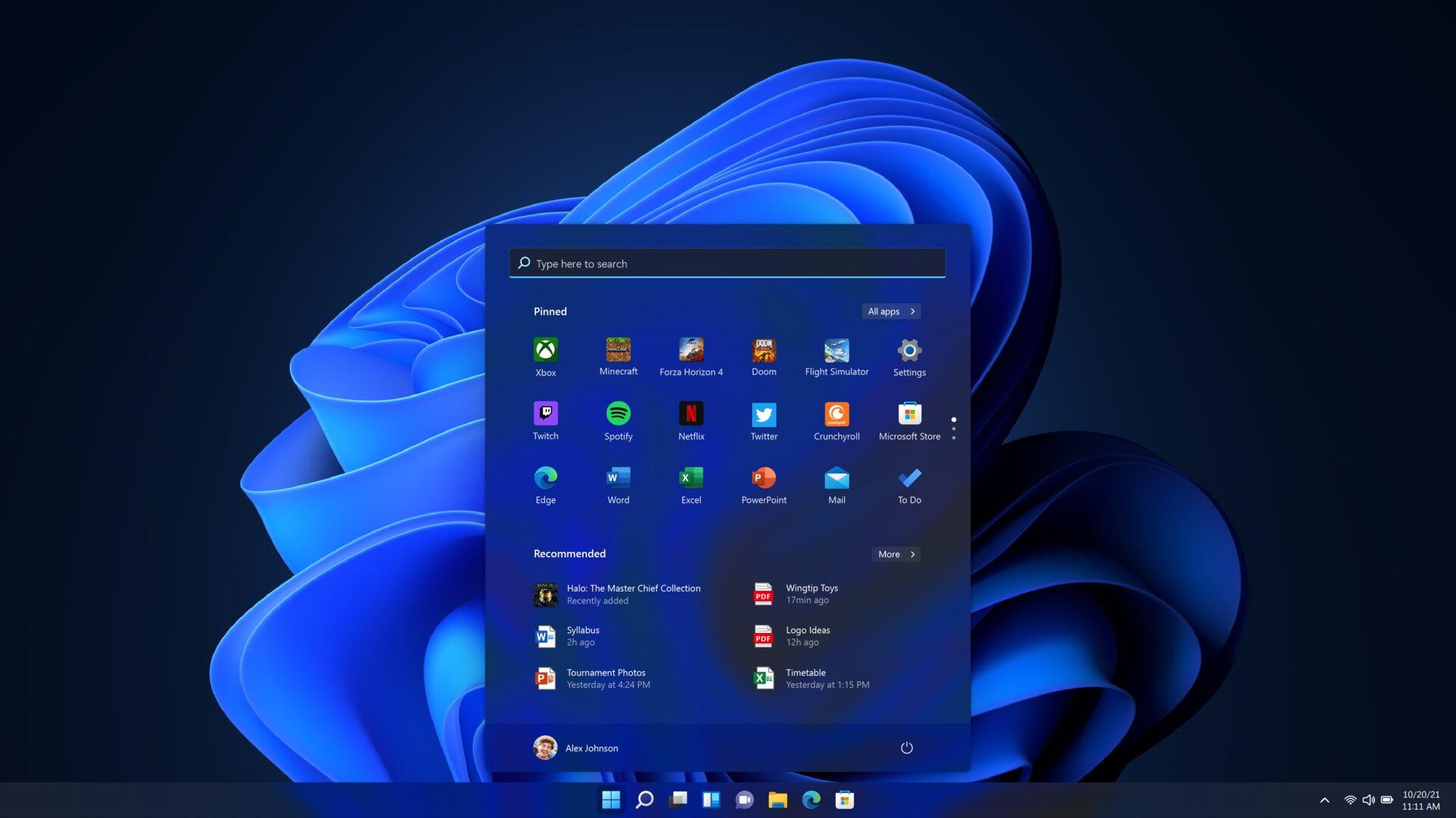 Inicio de Windows 11 oscuro