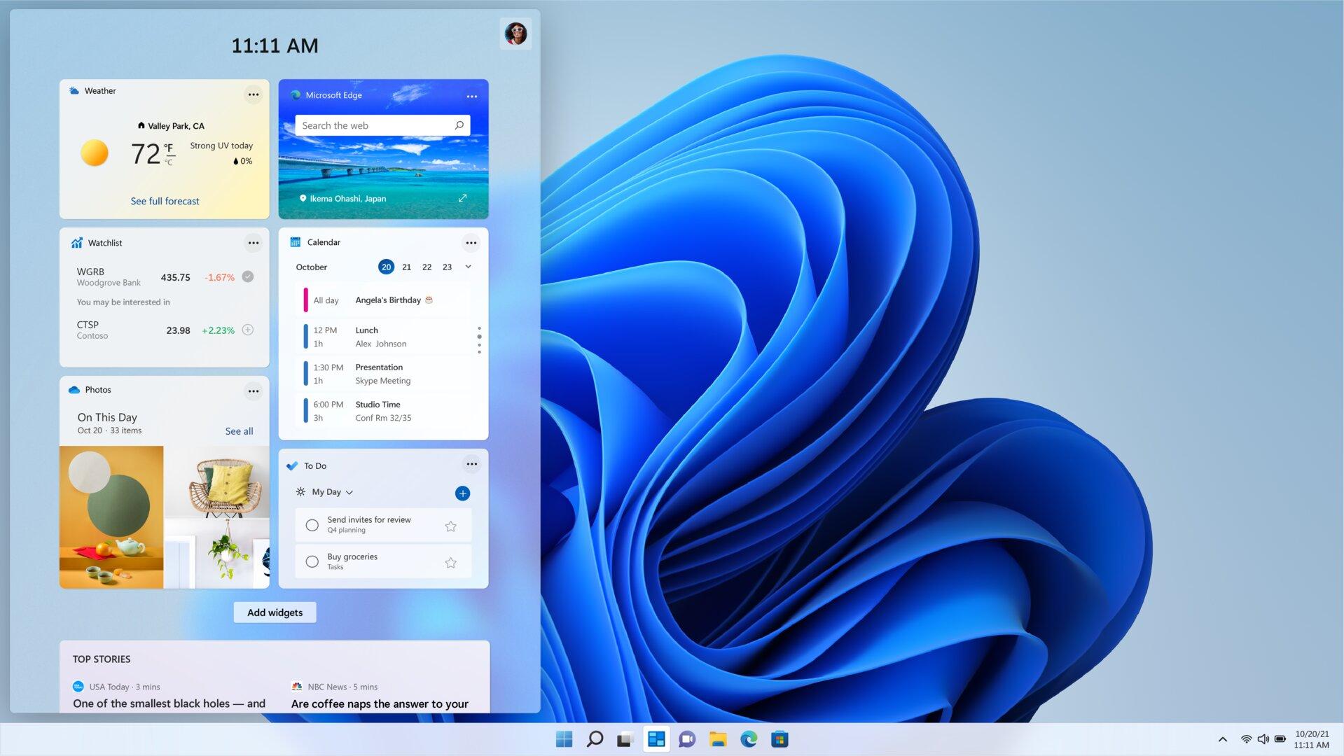 La nueva superposición de widgets en Windows 11