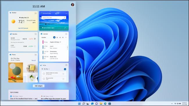 Widgets en un escritorio de Windows 11.