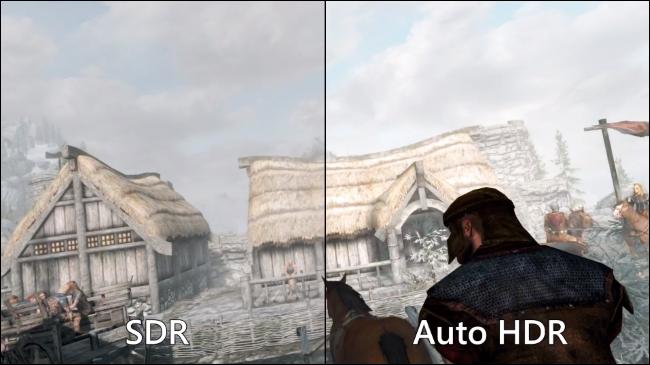 Comparación de SDR estándar con HDR automático en Skyrim en una PC con Windows 11.