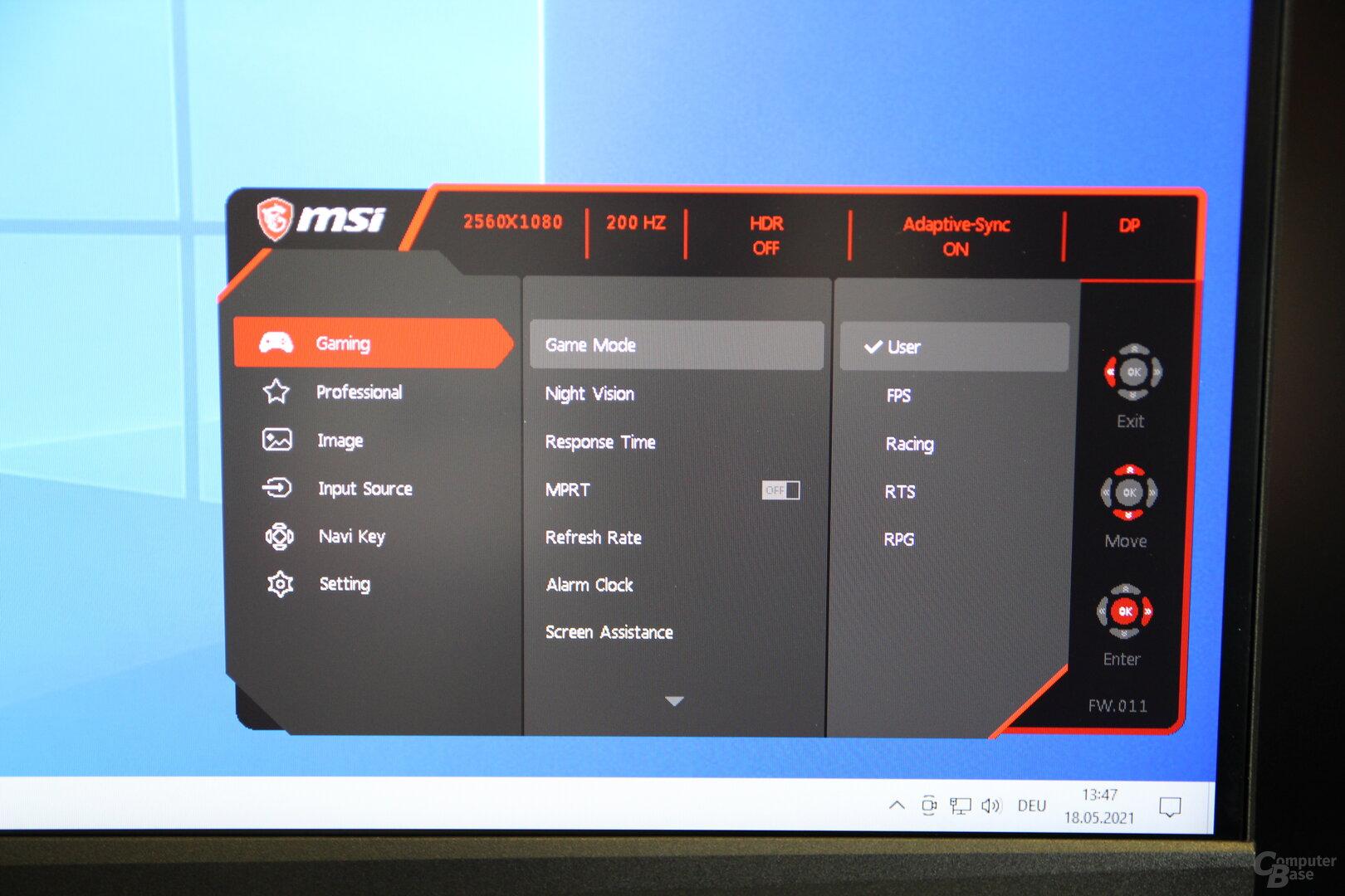 OSD del MSI Optix MAG301RF