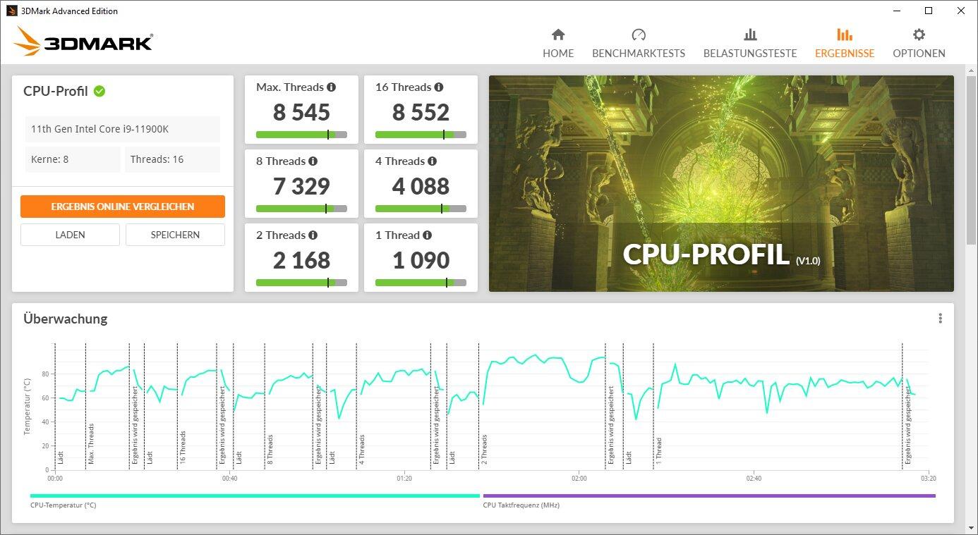 Perfiles de CPU 3DMark - Resultado