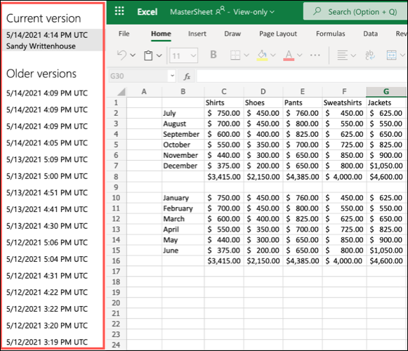 Versiones anteriores en Excel para la Web