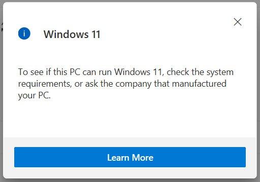 Información vaga sobre la incompatibilidad con Windows 11