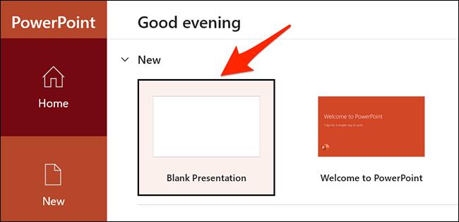 """Seleccione """"Presentacion en blanco"""" en la ventana de PowerPoint."""