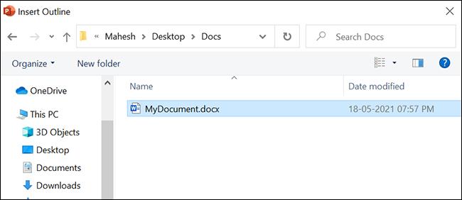 Seleccione el documento de Word para convertir a PowerPoint.