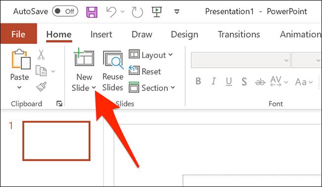 """Haga clic en la flecha junto a """"Nuevo tobogán"""" en la ventana de PowerPoint."""