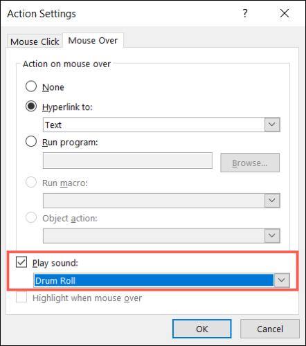 Marque Reproducir sonido y elija un sonido