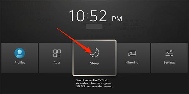 """Resaltar el """"Dormir"""" opción en la interfaz de Fire TV."""