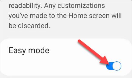 Ahora simplemente encienda el interruptor y verá que la interfaz de usuario se agranda inmediatamente.