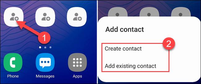 """Toque uno de los atajos vacíos para seleccionar un contacto, luego seleccione """"Crear contacto"""" o """"Agregar contacto existente."""""""