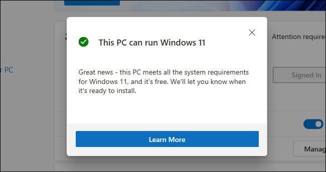 """A """"Esta PC puede ejecutar Windows 11"""" Mensaje en la aplicación PC Health Check"""