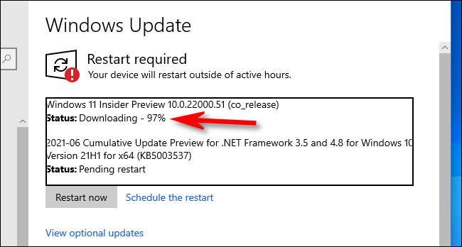 Verá el progreso de descarga de Windows 11 Preview en Windows Update.