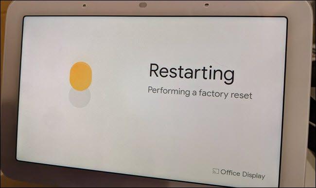 Reinicio de Google Nest Hub durante el proceso de reinicio