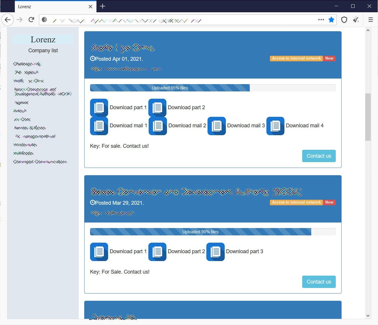 Sitio de fuga de datos de Lorenz ransomware