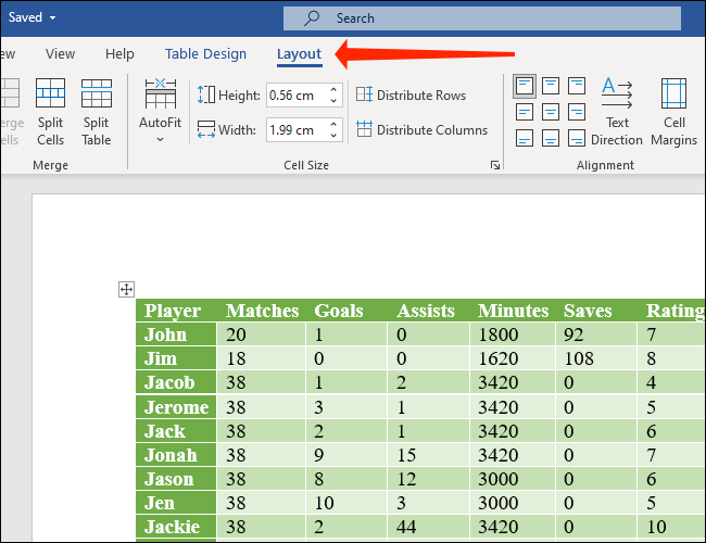 Seleccione la pestaña Diseño junto a Diseño de tabla en Microsoft Word