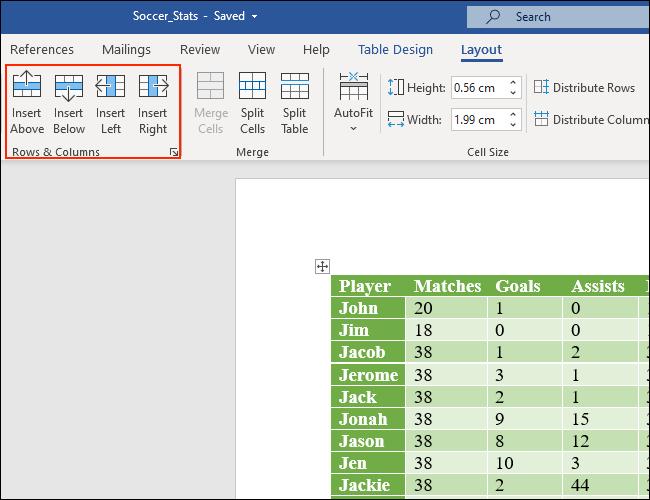 La parte de Filas y columnas de la pestaña Diseño le permite agregar filas y columnas a las tablas de Microsoft Word