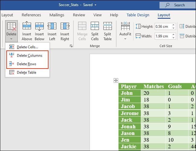 Haga clic en Eliminar columnas o Eliminar filas para deshacerse de las columnas y filas de las tablas de Microsoft Word