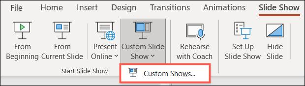Haga clic en Presentación de diapositivas personalizada, Presentaciones personalizadas