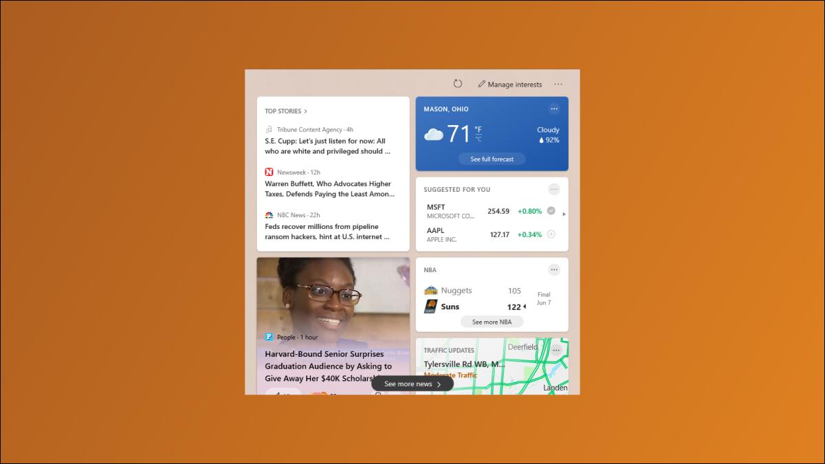 Noticias y clima de Windows 10.
