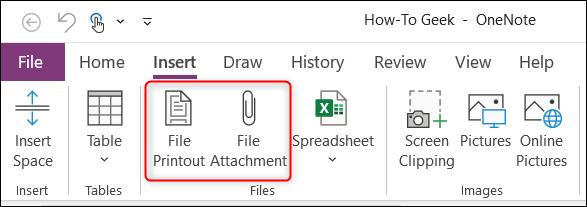 Opción de impresión de archivo y adjunto de archivo en el grupo Archivos