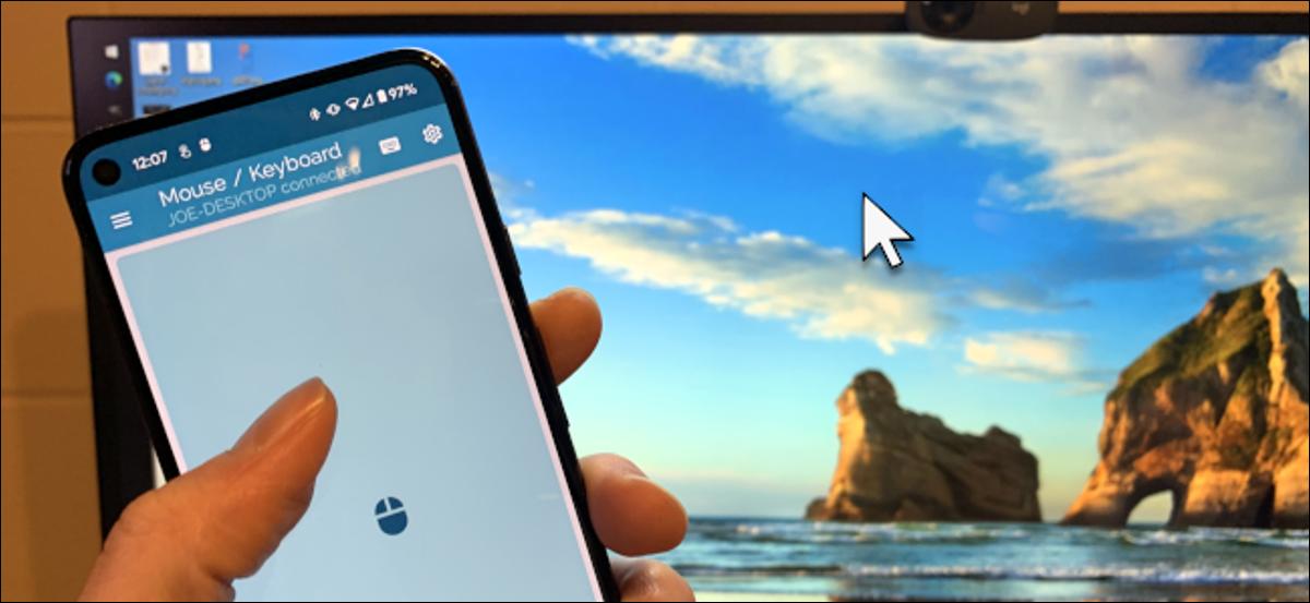 teléfono Android que se utiliza como ratón bluetooth