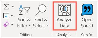 Haga clic en Analizar datos en la pestaña Inicio
