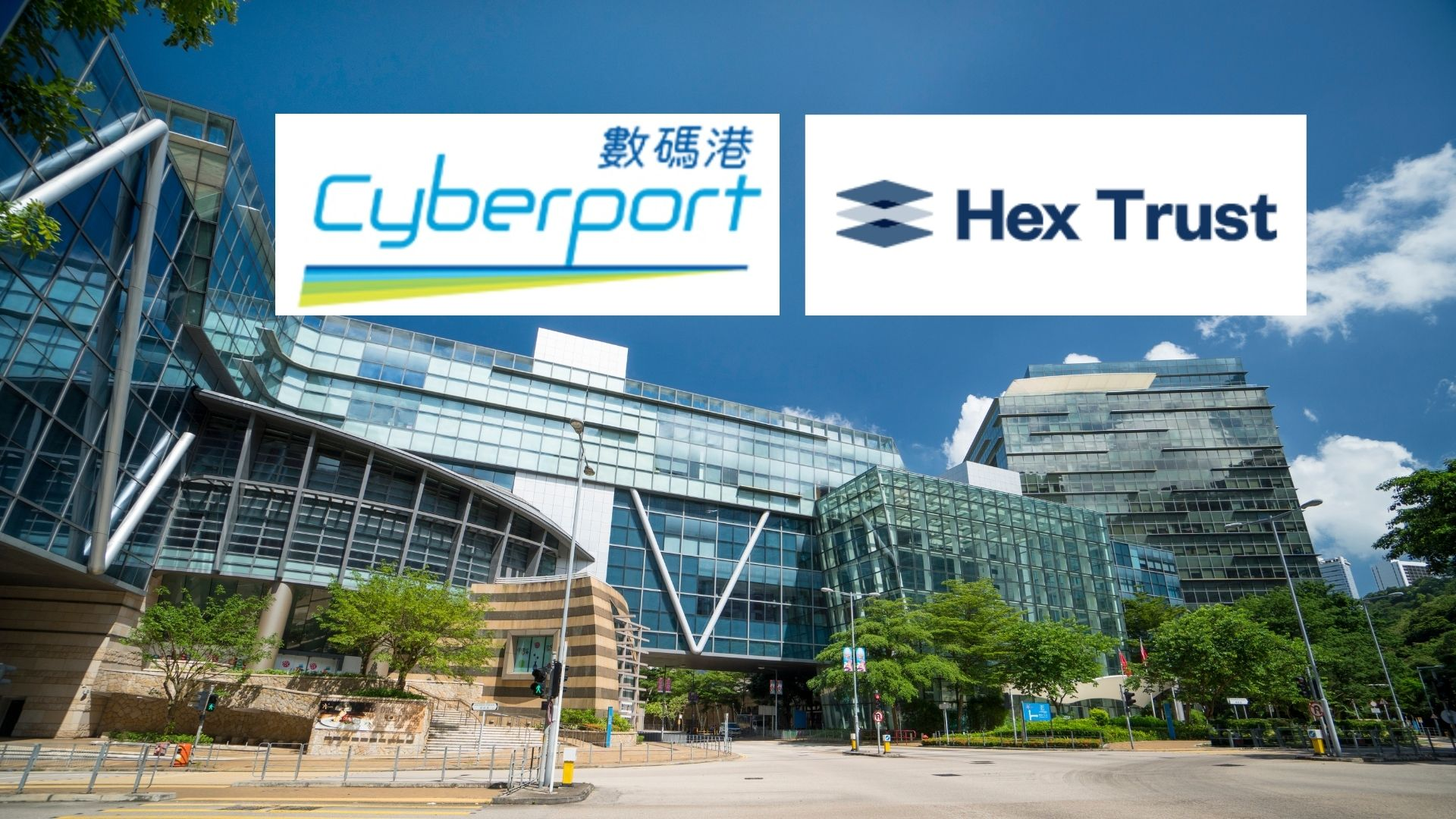 Hong Kong Cyberport with logos of Cyberport and Hex Trust, a digital asset custodian