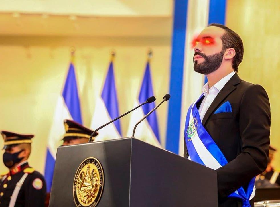 El Salvador president with bitcoin laser eyes