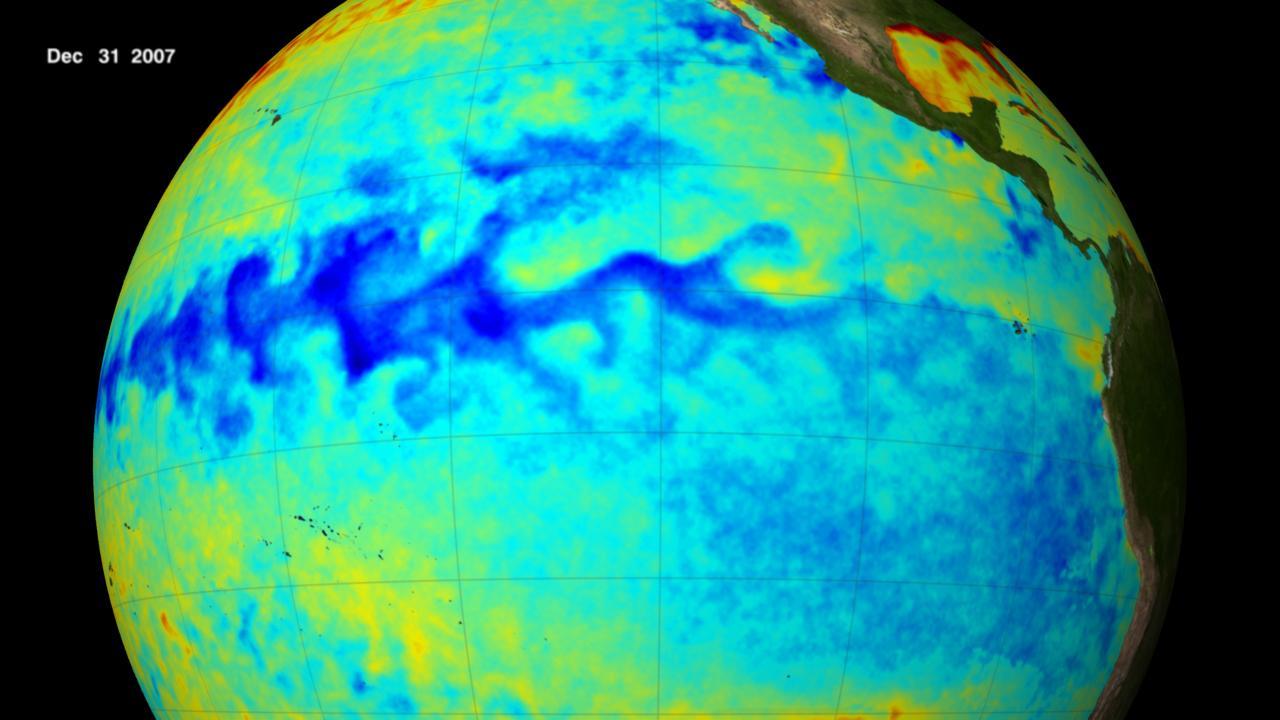 El área azul en el centro de esta imagen muestra la temperatura fría de la superficie del mar a lo largo del ecuador en el Océano Pacífico durante este episodio de La Niña.  Crédito: Estudio de visualización científica de NASA / Goddard