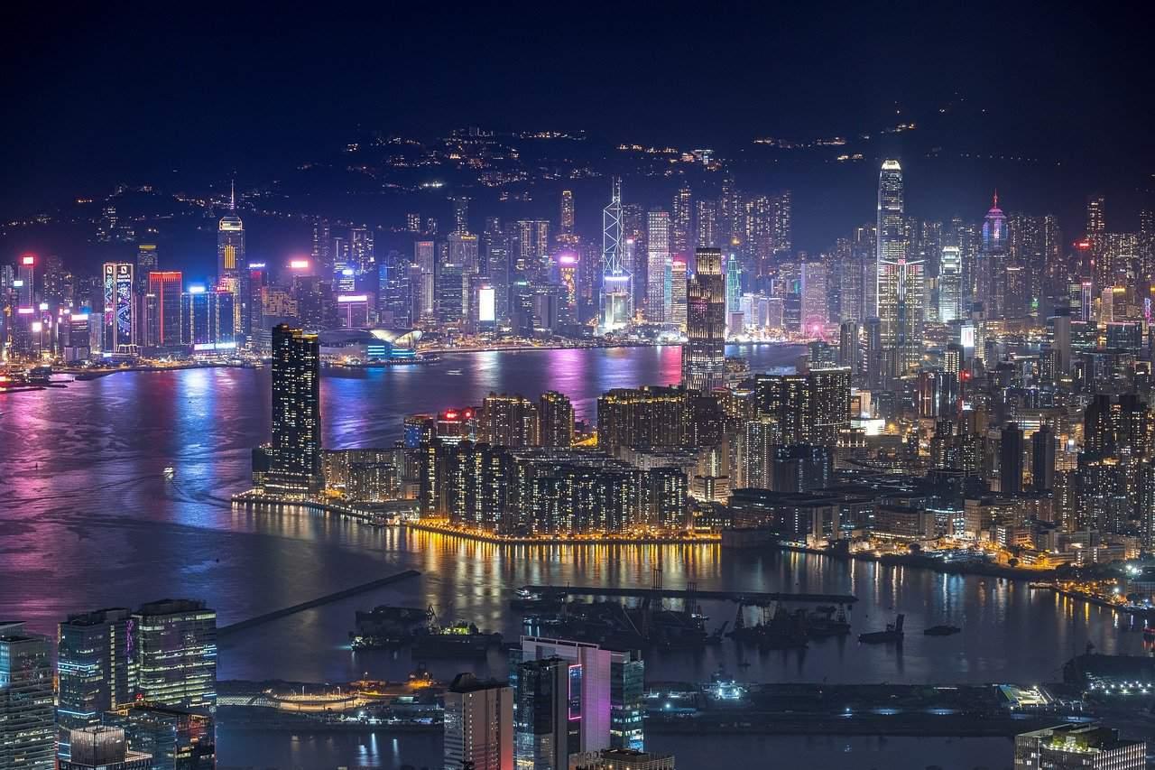 night view of skyscrapers inHong Kong