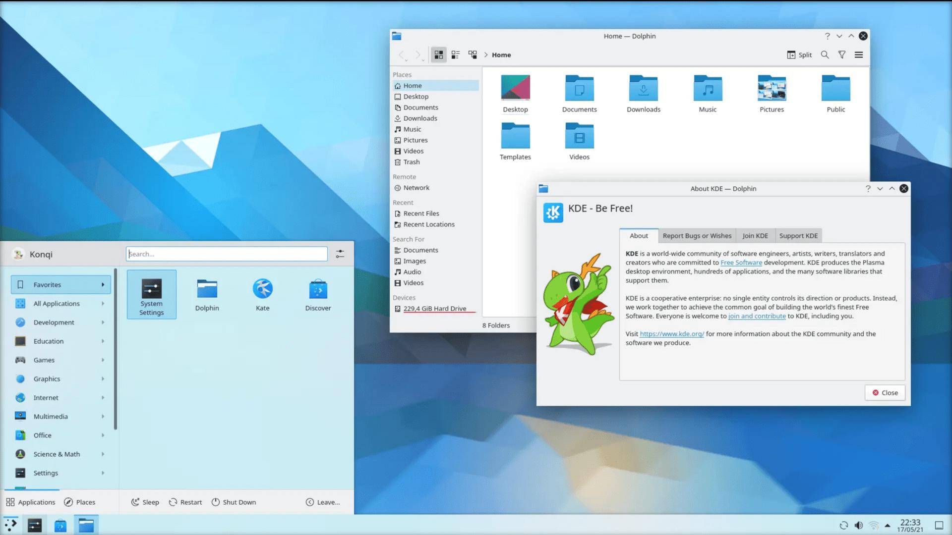 KDE neon con KDE Plasma 5.22.2.1