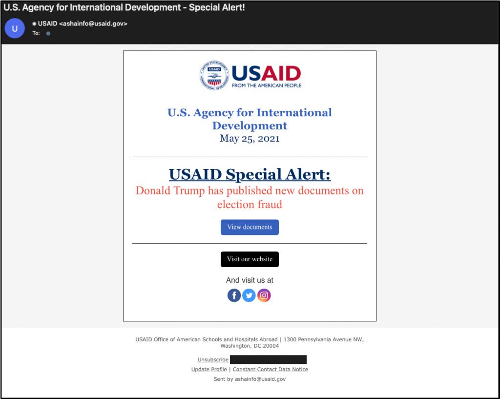 Correo electrónico de phishing de USAID enviado por piratas informáticos de Nobelium