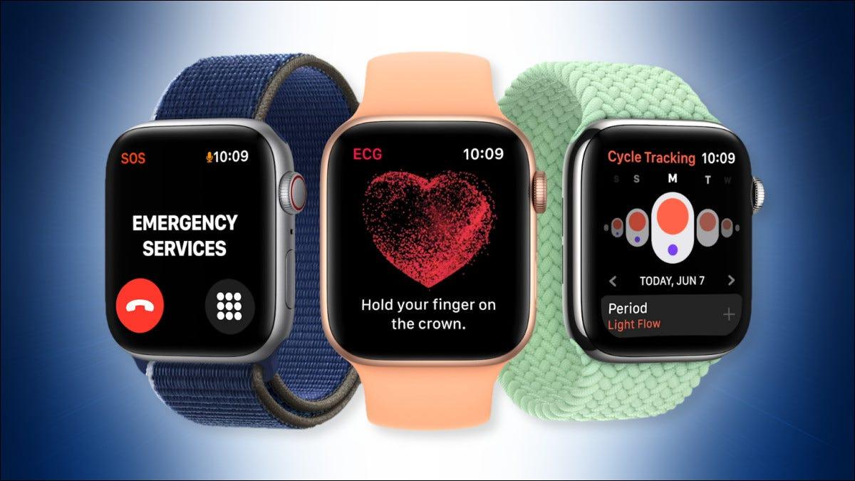 Tres relojes Apple con watchOS 8.