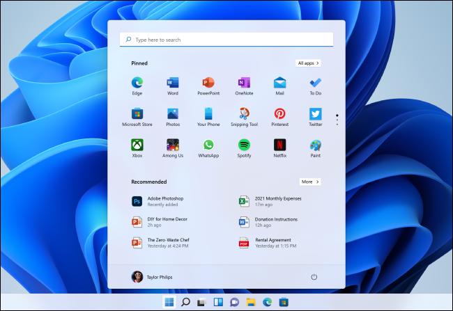 Nuevo menú Inicio de Windows 11.