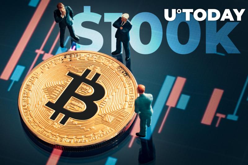 Three men standing around a bitcoin contemplating, with $100K written behind them