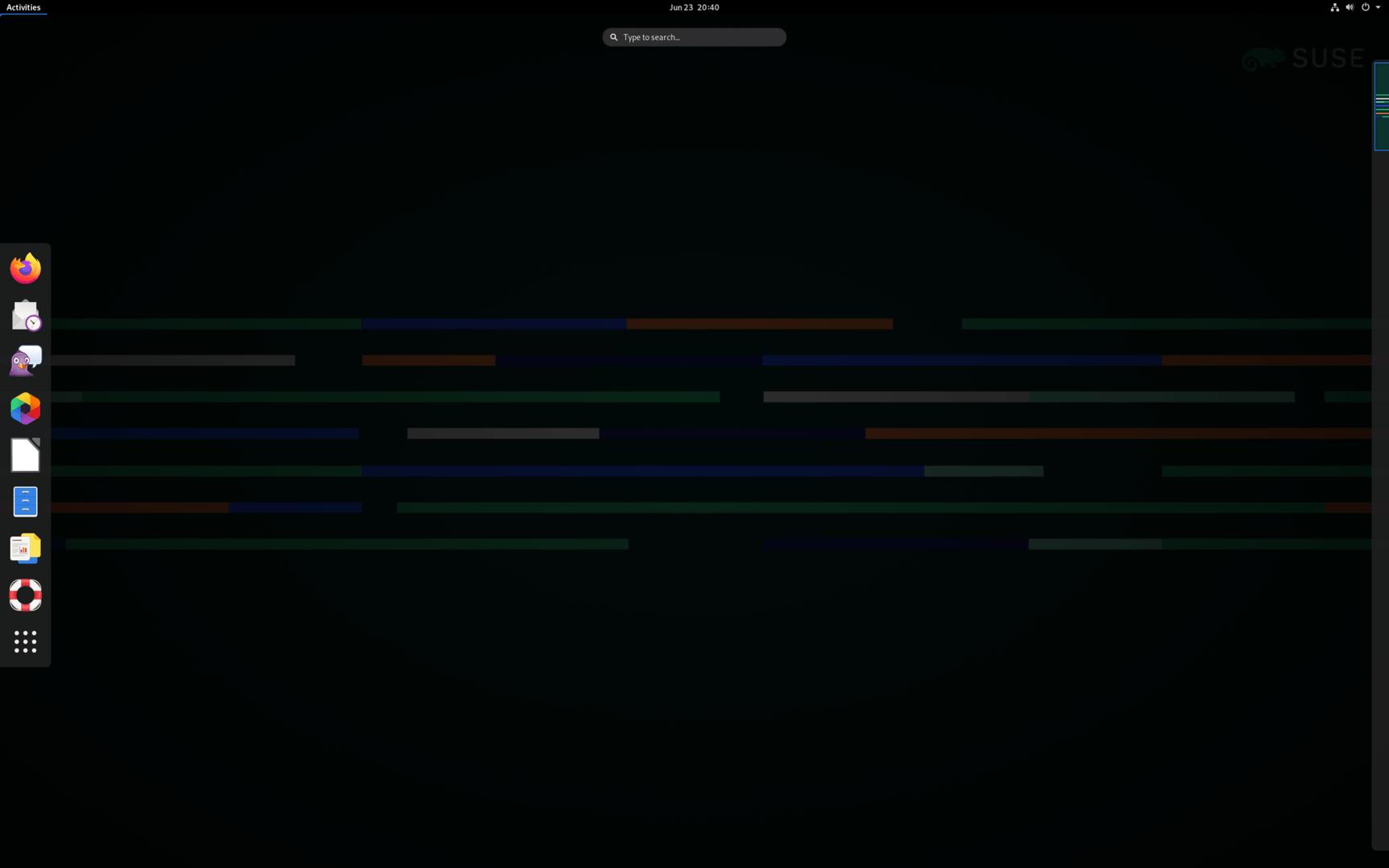 SUSE Linux Enterprise 15 SP3 con escritorio Gnome